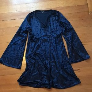 Blue crushed velvet cross front neckline dress